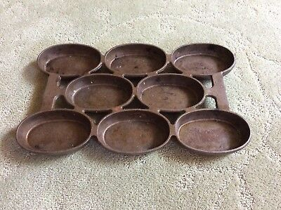 Antique Vintage Cast Iron No 5 Oval Gem Muffin Pan Biscuit