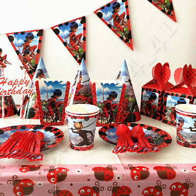 132pcs Miraculous Ladybug Tableware Set Favor Girls Kids Birthday Party Supplies