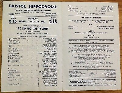 The Man Who Came to Dinner Playbill (Bristol Hippodrome, 1943)
