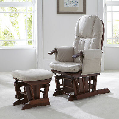 Tutti Bambini GC35 DELUXE Reclining Glider Nursing Feeding Chair & Stool WALNUT