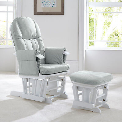 Tutti Bambini GC35 DELUXE Reclining Glider Nursing Feeding Chair & Stool - GREY