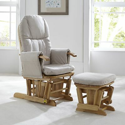 Tutti Bambini GC35 DELUXE Reclining Glider Nursing Feeding Chair & Stool NATURAL