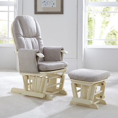 Tutti Bambini GC35 DELUXE Reclining Glider Nursing Feeding Chair & Stool VANILLA