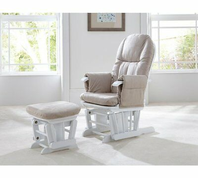 Tutti Bambini GC35 DELUXE Reclining Glider Nursing Feeding Chair & Stool WHITE