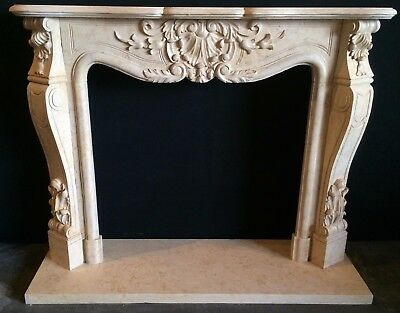 FRENCH LIMESTONE Fireplace Mantel – Hand Carved Stone Mantle - AGED - IN STOCK