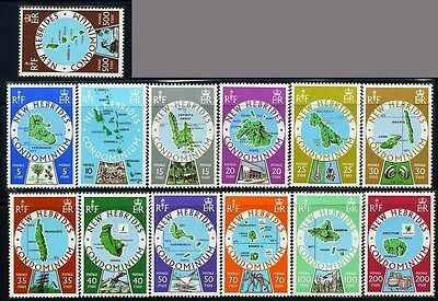 NEW HEBRIDES GB, Sc238~50(13) CplSet (BR) 5fr to 500fr1977 Def. Islands Maps MNH