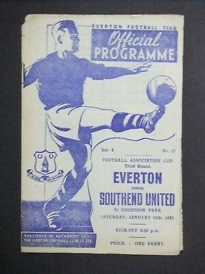 Everton v Southend United 1946/47 FA Cup 3rd Round