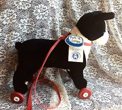 Vintage Boston Terrier Plush Pull A Long With Tags