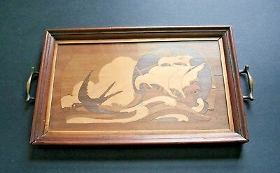 Art Deco handmade wood marquetry tray swallow and ship galleon glass top