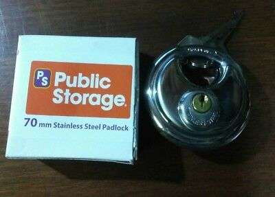 "PUBLIC STORAGE STEEL ROUND PADLOCK WITH SHIELDED SHACKLE 127 disc 70mm 2 3/4"" ps"