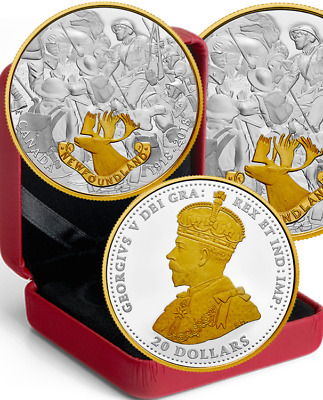 2018 Newfoundland First World War Allies $20 1OZ Pure Silver Proof Coin Canada