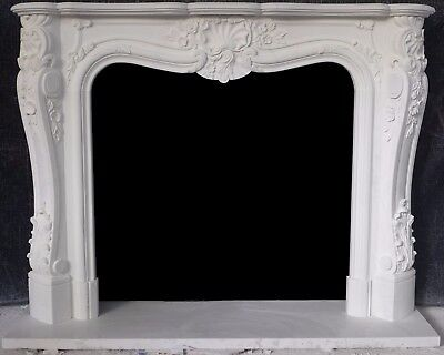 White Marble French Mantle - Hand Carved Stone Mantel - Deep Carving!