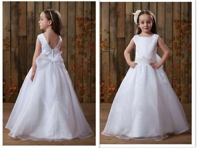 White Lace Tulle Girls Dress Wedding Pageant Christmas Holidays Party