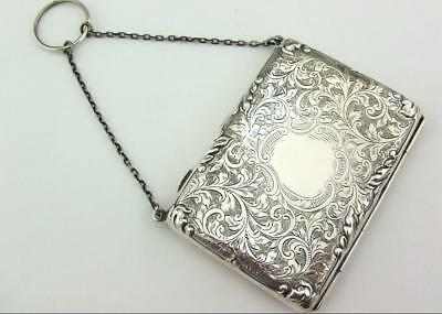 Antique  Bright Cut Solid Silver Card Case, Aide Memoire, Stamp Holder