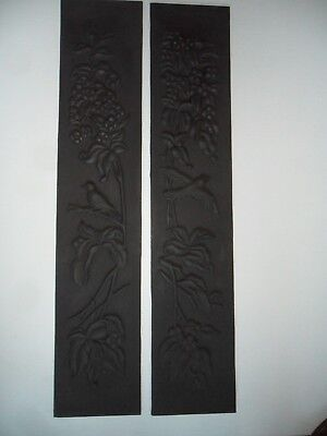 Pair of ornate cast iron tile replacemenpanels for antique (or repro) fireplace