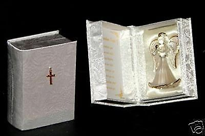 beautiful crystal glass guardian Angel Blessing prayer box gift  Baptism CD10