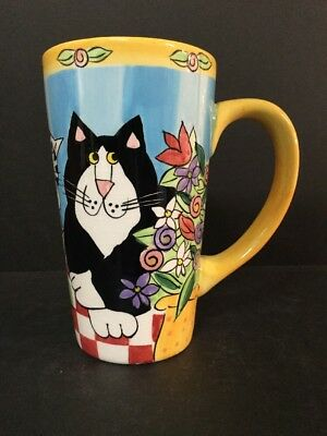 Catzilla Candace Reiter 2000 Hand Painted Cats/Flowers Coffee Mug 16 Oz #7-0167