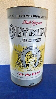 Vtg OLYMPIA BEER PALE EXPORT TUMWATER IT'S IN THE WATER 1933 TRASH CAN RARE TIN