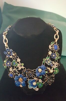 Fashion Women Jewellery Necklace, BLUE with gold & diamond roses & flowers chain