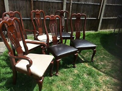 Vintage/antique Queen Anne style 6 high back dining chairs good condition