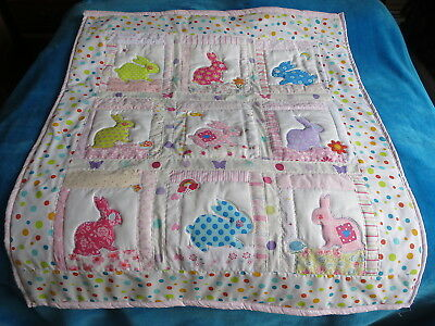 New COT or COT BED QUILT + Bag + Bunting personalised with Name Rabbit Bunnies