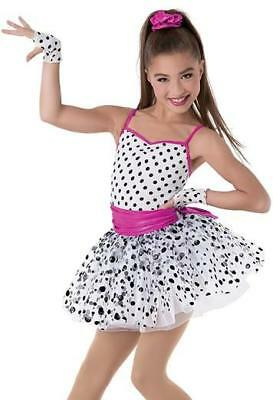 Dance Costume Large Child Polka dot Jazz Ballet tap 2in1 Tutu Solo Competition