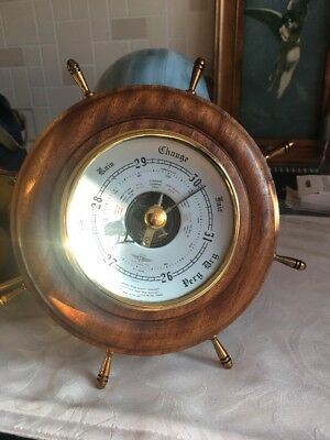 VINTAGE Millbars NAUTICAL SHIPS WHEEL BAROMETER Maker S B