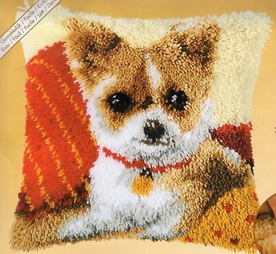 CHIWAWA PUPPY LATCH HOOK CUSHION KIT by VERVACO, 16 x 16 INS BRAND NEW