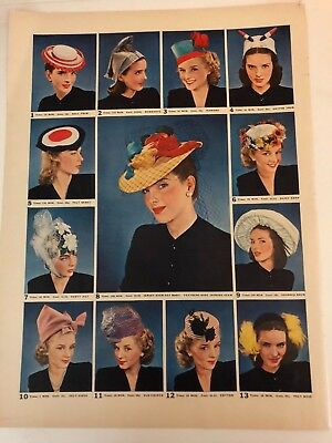 Vintage Ad from LIFE Magazine 1940's WWII Era  Hat Styles Retro Fashion