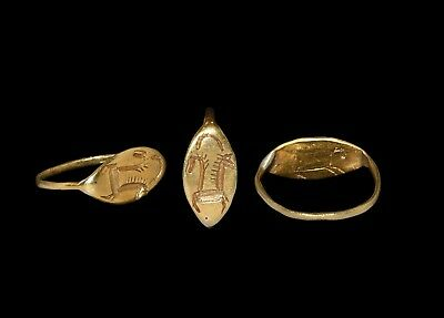 Rare Viking Ancient Gold Finger Ring With Horses Circa 9th /0th Cent AD