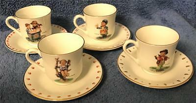 Set of 4 Demitasse M.J. Hummel Boy Figures Cups & Matching Saucers