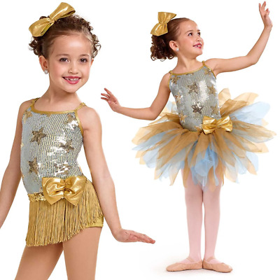 Dance Costume Large Child Gold Blue Star Ballet Tap Jazz 3in1 Solo Competition