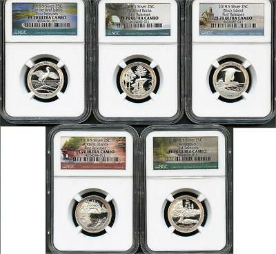 2018-S 25C SILVER Quarter Set FIRST RELEASES NGC PF70 Ultra Cameo (5 Coins Set)