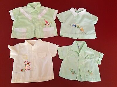 Vintage Baby Boy Lot of Button Down Little Pockets, Embroidery Detail Shirts