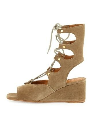 5b8f6c727957 CHLOE FOSTER SUEDE Gladiator Lace Up Suede Wedge Sandal Size 39.5 ...