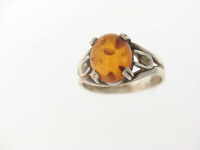 Sterling Silver Ring Set With Baltic Amber 12x10