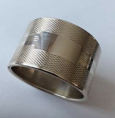 Antique Vintage Hallmarked 1958 Solid Silver Napkin Ring With Vacant Cartouche.