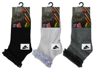 3/6 Pairs Girls Ladies Lace Trimmed Cotton Rich Frilly Ankle School Socks