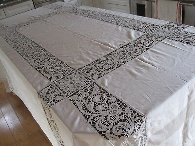 Antique Banquet Tablecloth North Italian Bobbin Lace Baroque Milanese Edwardian
