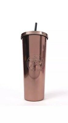 Starbucks Tumbler 2017 Stainless Steel Hot & Cold Cup 24oz NWT ROSE GOLD Shiny