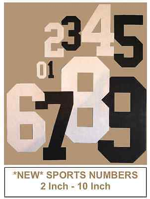 """Iron On Fabric Number Sport Jersey Style 2"""" - 10"""" Sizes (Price Is Per Number)"""