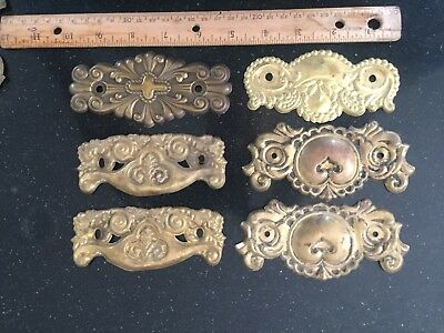 antique vintage stamped brass victorian drawer pull backplate lot of 6