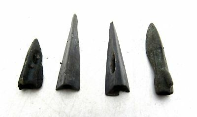 Rare Lot of 4 ANCIENT SCYTHIAN BRONZE ARROW HEADS MEASUREMENTS: 20-31mm; 9.1gram
