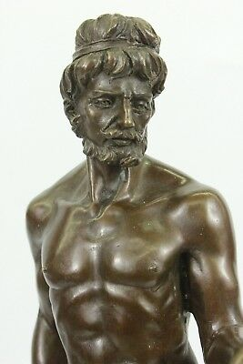 Hand Painted Style Bronze Figure of Nude Greek Hero Ganymede Eagle Home HQ