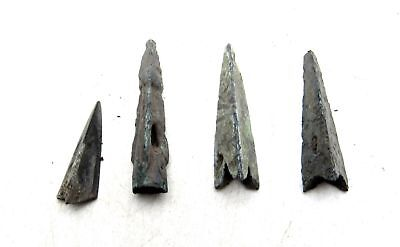 Rare Lot of 4 ANCIENT SCYTHIAN BRONZE ARROW HEADS MEASUREMENTS: 17-25mm; 5.1gram