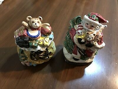 Vintage Omnibus by Fitz and Floyd - Hand Painted Christmas Salt & Pepper Shakers