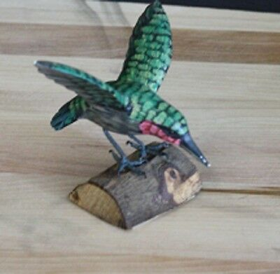 """Handcarved Painted Hummingbird on a Branch 5"""" Long  x 4"""" Tall"""