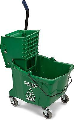 Carlisle 3690409 Commercial Mop Bucket With Side Press Wringer, 35 Quart Green
