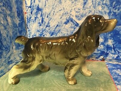 Large Springer Spaniel Dog Cocker Spaniel Figurine  Vintage Green Japan