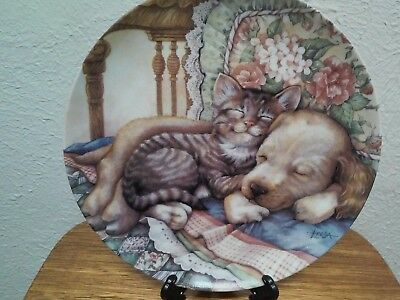 "Crestley Friends Forever ""Cuddle Up"" Puppy/Kitten Plate by Leesa Whitten"